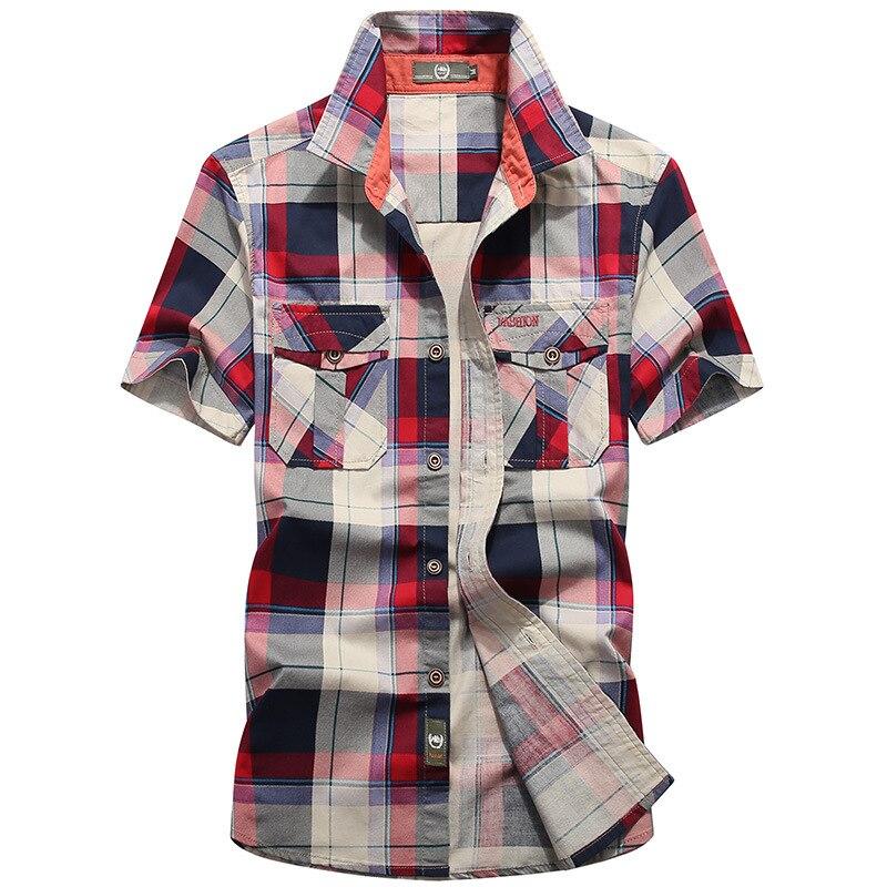 Summer Plaid Shirt Men Military Casual Loose Mens Shirts Camisa Masculina Short Sleeve Tops Camisas Para Hombre Big Size S-4XL