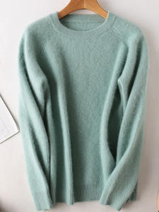 Thick Sweater Pullover Short Round-Collar Mink Cashmere Women's Soft Full-Sleeves Winter