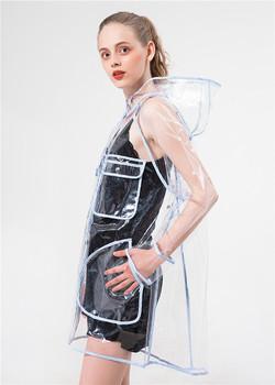 Przezroczysty płaszcz przeciwdeszczowy wodoodporny płaszcz przeciwdeszczowy Outdoor Travel Runway poncho z kapturem płaszcze przeciwdeszczowe damskie odzież przeciwdeszczowa płaszcz przeciwdeszczowy płaszcz rowerowy tanie i dobre opinie TEAEGG Plastic