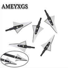 6/12/24Pcs 125Grain Archery 2 Sharp Fixed Blade Broadheads Hunting Arrowheads Screw Bow Arrow Shooting Practice Accessories