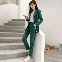 Autumn Winter Blazer Pants Suit Women Korean Chic Fashion Office Ladies Green Corduroy Casual High Waist Small Feet Pants Suit