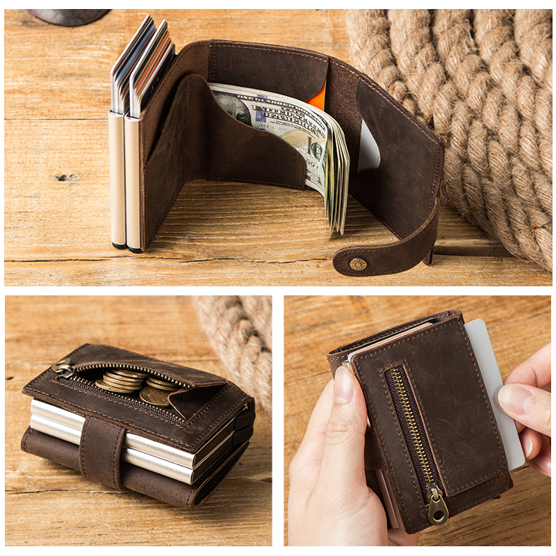 Contact's Business ID Credit Card Holder Crazy Horse Leather Men Wallet Rfid Card Case Aluminium Box Small Coin Purse Customize