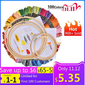 Image 1 - 50/100 Colors Skeins Embroidery Pen Needle Set Thread Punch Stitching Knitting Kit Women Mom DIY Sewing Accessories With Tweezer