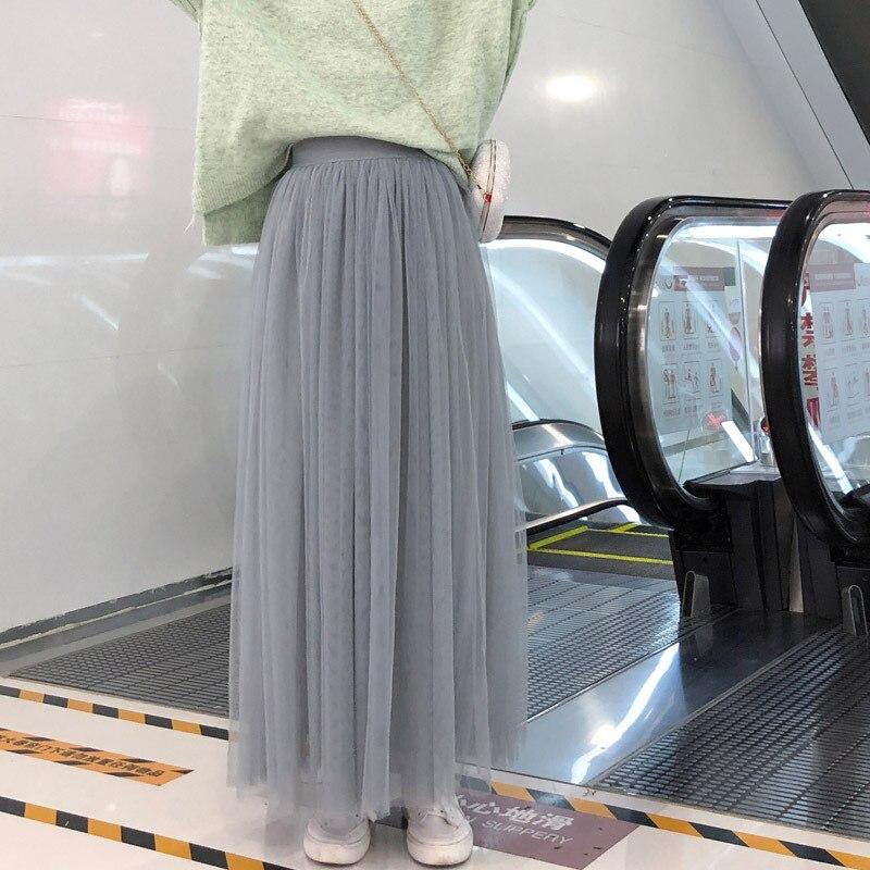 Long Tulle Skirts Womens 2020 Summer High Waist Mesh Tutu Pleated Skirt Women Black White Gray Maxi Skirt Jupe Tulle Femme