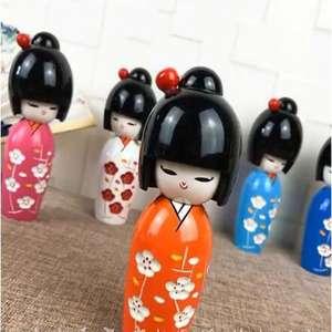 Muñeca Dama Geisha Japonesa Rojo Púrpura Pendientes Chapado en Plata Madera de impresión