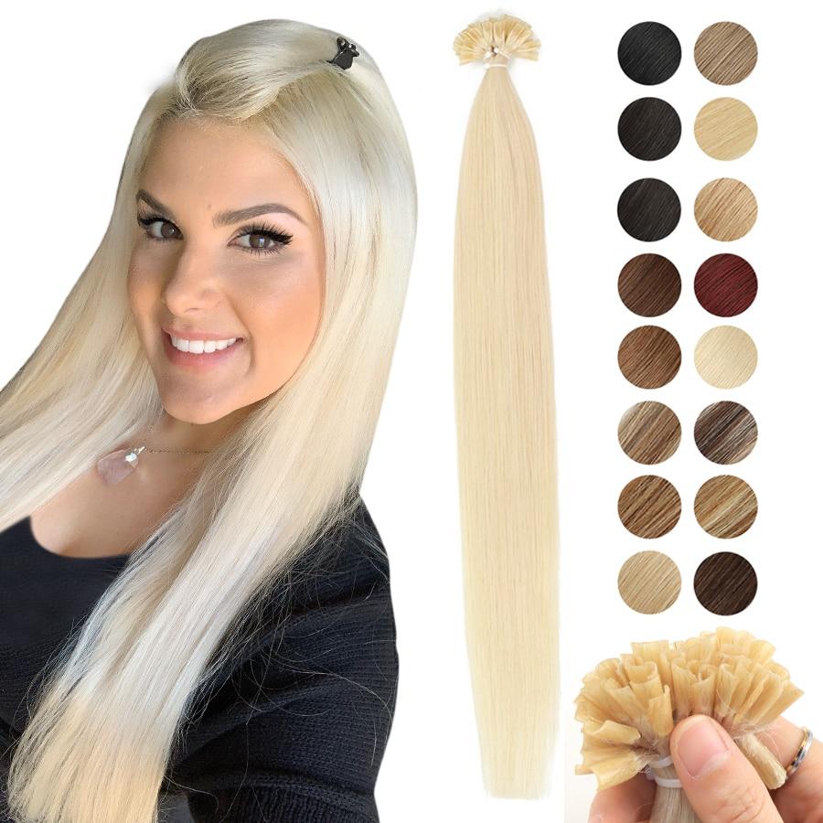 "MRSHAIR 1g/pc Nail Tips Hair Extension Human Keratin Hair Remy U Tip Straight Fusion Hair Pre Bonded Capsule 50pcs 16"" 20"" 24"""
