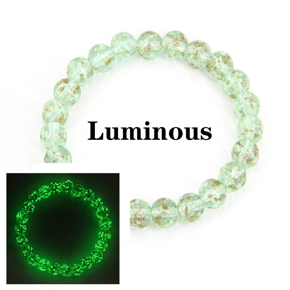 Glow in the dark Bracelets for women luminous beads 8mm glass Crystal ball  female bracelet jewellery yoga Dropshipping