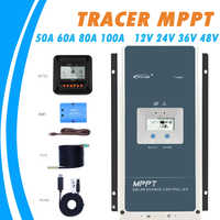 Epever 50A 60A 80A 100A MPPT Solar Charge Controller 12V 24V 36V 48V Auto Backlight LCD Solar Regulator Support WIFI MT50 Remote