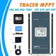 Epever 50A 60A 80A 100A mpptソーラー充電コントローラ12v 24v 36v 48v自動バックライト液晶ソーラーレギュレータサポートwifi MT50リモート