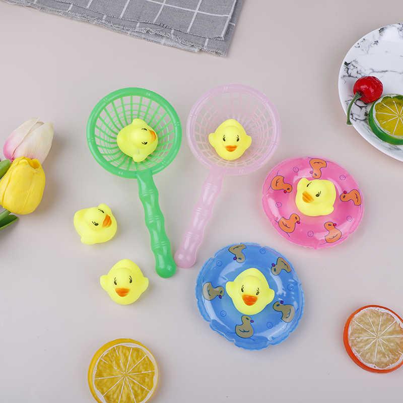 5 Pcs/Set Mini Baby Children Bath Toys Cute Rubber Duck Fishing Net Shower Games