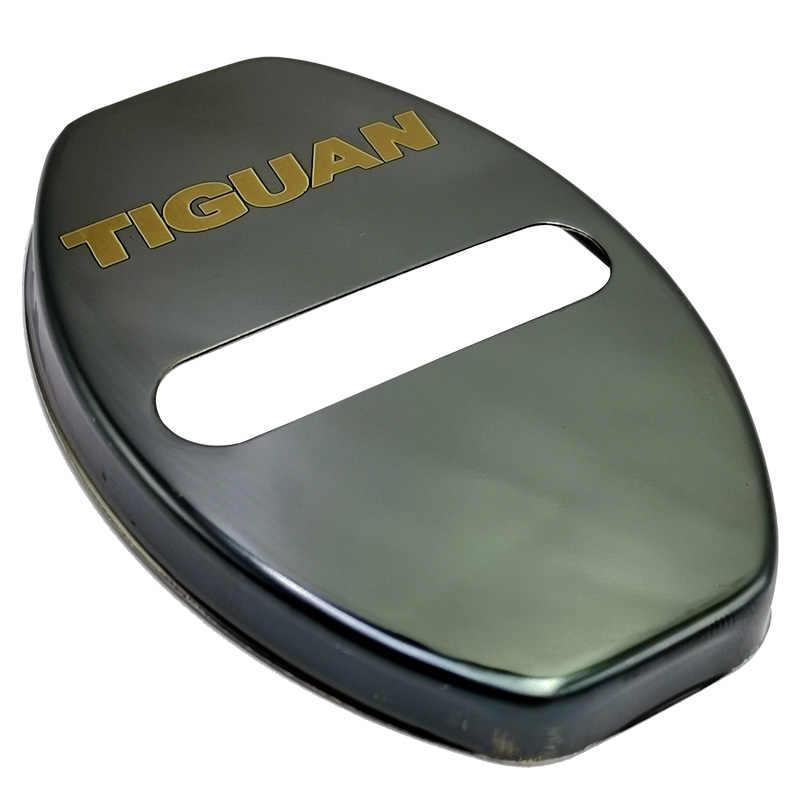 FLYJ 4PCS ประตูรถล็อครถสติกเกอร์ป้องกันหัวเข็มขัดรถอุปกรณ์เสริมภายในสำหรับ VW Volkswagen TIGUAN