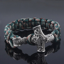 SG Vantage nórdico vikingo pulseras Thor Mjolnir martillo de Paracord amuleto runa nudo escandinavo cuerda brazaletes hombres joyería regalos