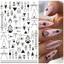 1 Pcs Nail Art Stickers Black Gold White Geometric Lines Design Adhesive Nail Art Decorations Chic Totem Nail Sticker Nail Decal