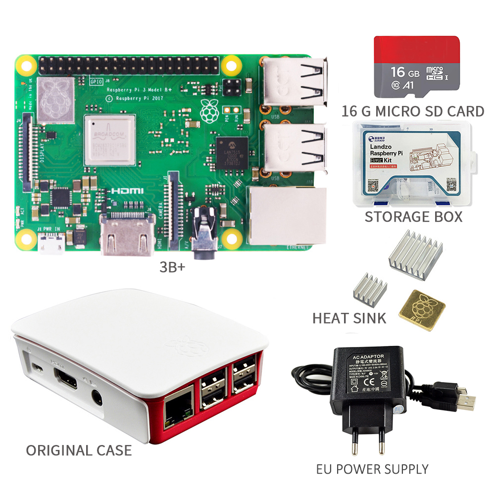 2018 New Original Raspberry Pi 3 Model B+ Kit 16G SD Card + Original Case +5V/2.5A EU / US Power Supply With Cable + Heat Sink