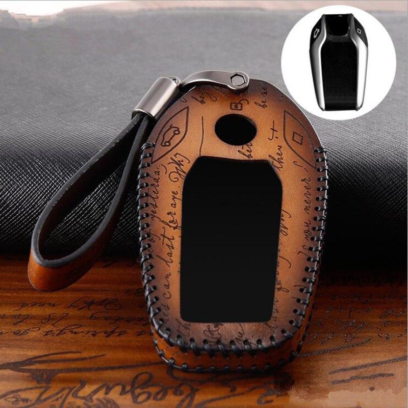 Натуральная кожа Автомобильный светодиодный Дисплей ключ крышка чехол для BMW 5 7 серии G11 G12 G30 G31 G32 i8 I12 I15 G01 X3 G02 X4 G05 X5 G07 X7