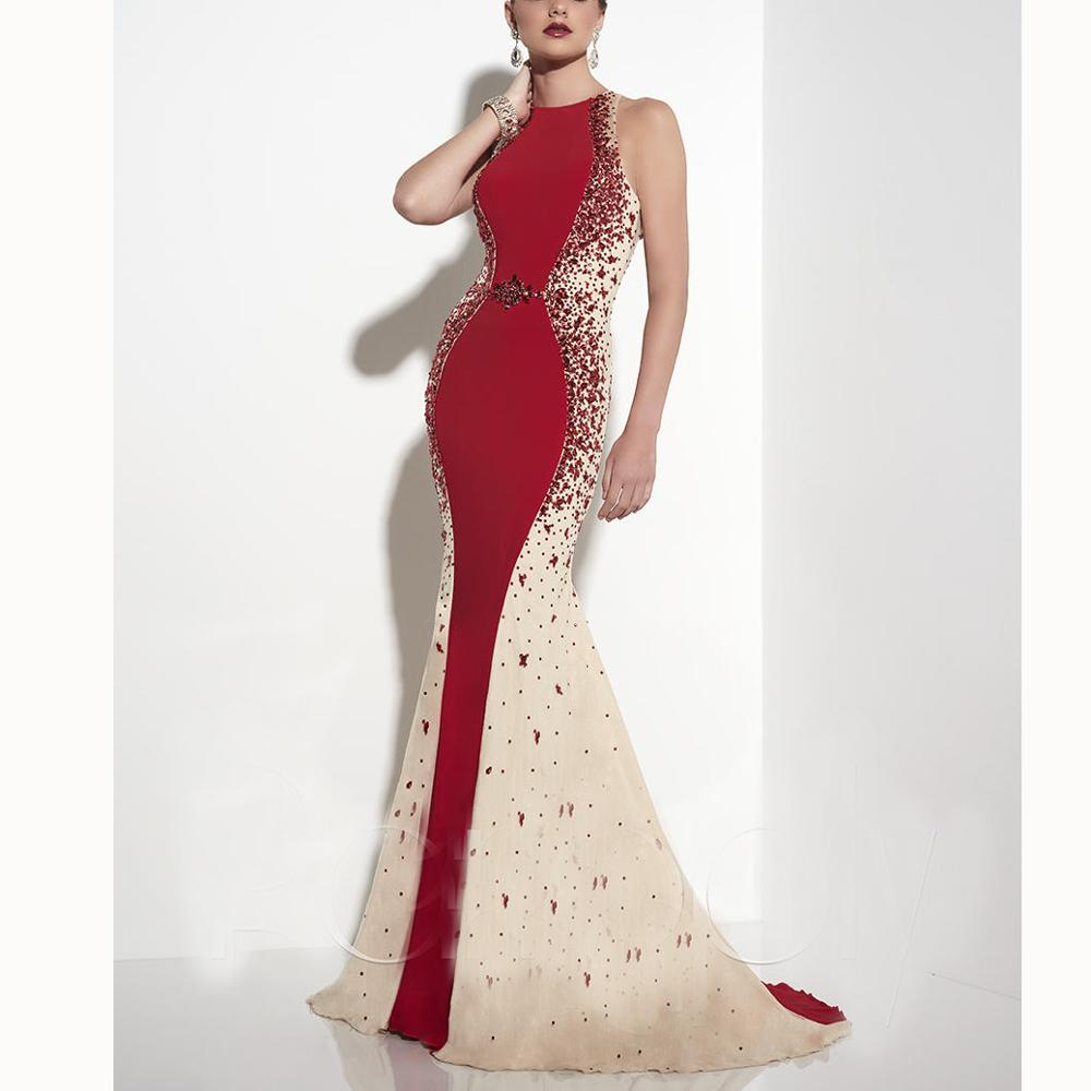 Red   Prom     Dress   Vintage Champange Crystals Beading Mermaid Evening   Prom     Dresses   Dropped Custom-Made vestido de formatura