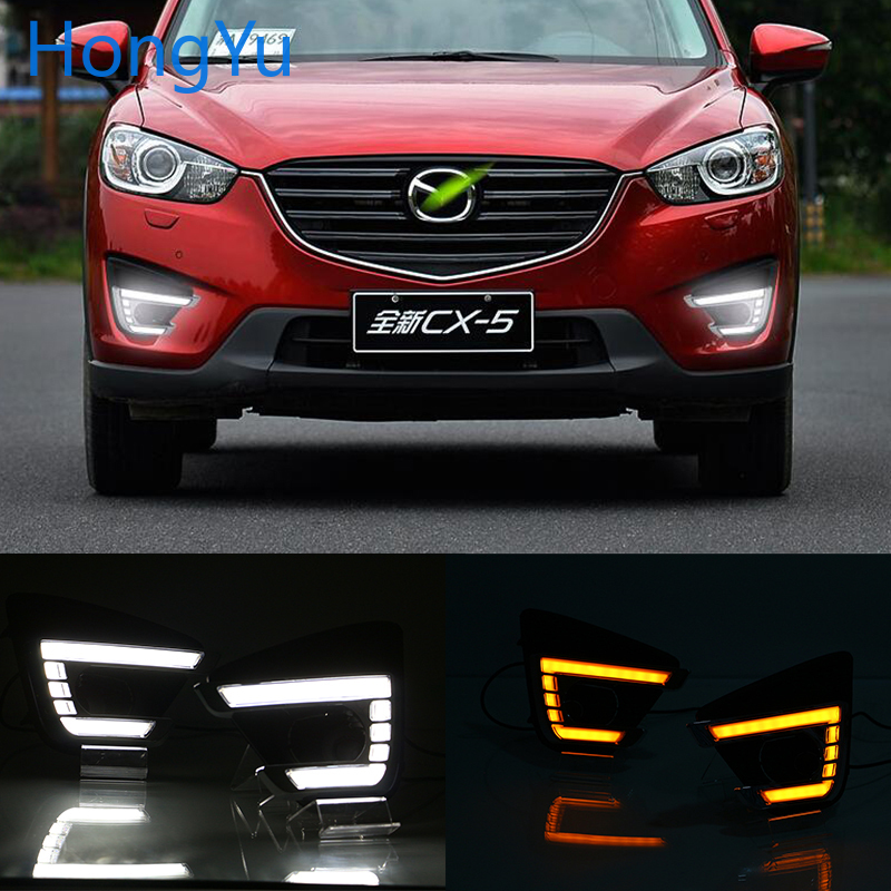 For <font><b>Mazda</b></font> <font><b>CX</b></font>-<font><b>5</b></font> CX5 <font><b>CX</b></font> <font><b>5</b></font> 2012 2013 2014 2015 <font><b>2016</b></font> Daytime Running Light LED DRL fog lamp Driving lights Yellow Turn Signal Lamp image