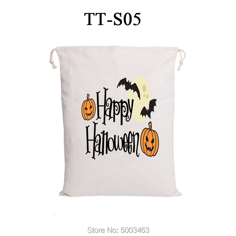 Halloween Drawstring Bags 10pcs/lot Wholesale Halloween Santa Sacks Candy Handbag Party Decoration Gift For Kids Tote Bags