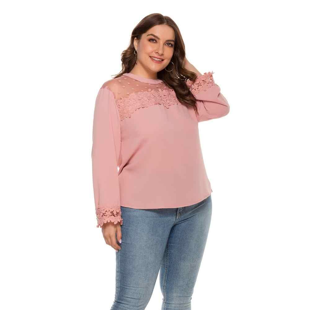 여성을위한 새로운 봄 가을 플러스 사이즈 탑 큰 블라우스 긴 소매 캐주얼 루즈 핑크 레이스 꽃 O 넥 셔츠 4XL 5XL 6XL 7XL