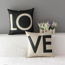 New arrival Letter Love Home Cushion covers Cotton linen Black White pillow cover Sofa bed Nordic decorative pillow almofadas недорого