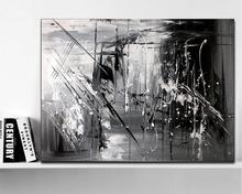 Handmade high quality thick knife abstract oil painting Silver gray lines on Canvas Painting Decor Oil art