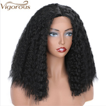 Vigorous Synthetic Yaki Black Straight Lace Front Wig Middle Part Afro Kinky Hair for Women