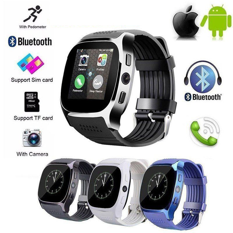 NEW Sport Health Smart Watch Camera Bluetooth Pedometer GSM SIM Sports Fitness Waterproof Wrist Watch for IPhone Samsung Huawei