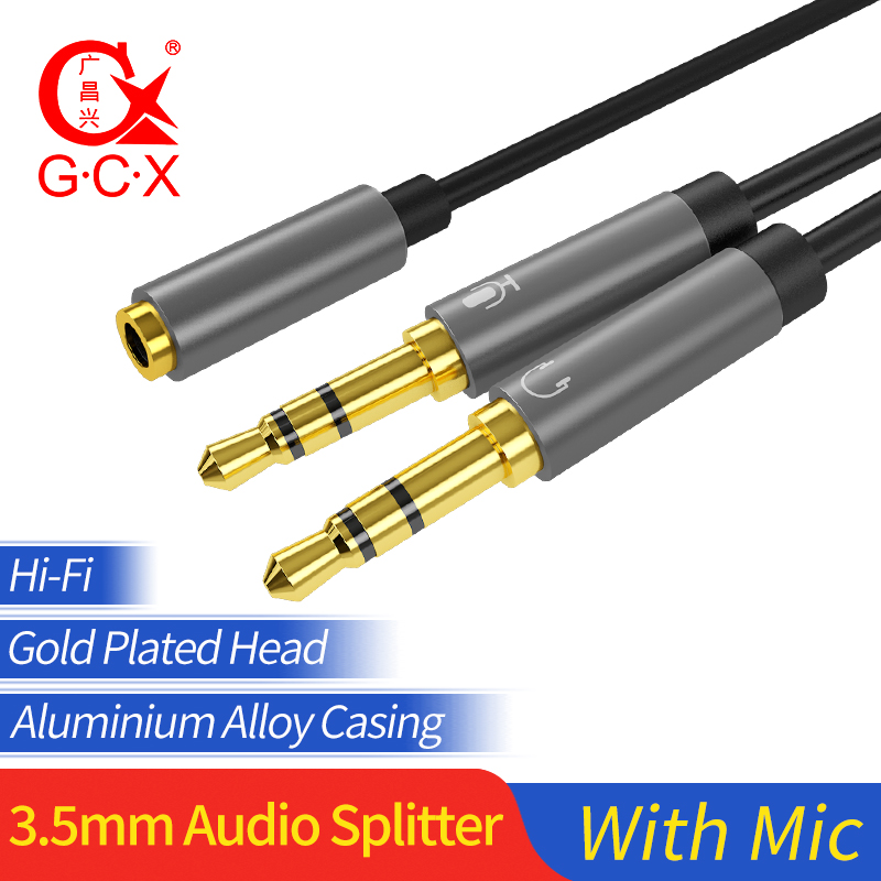 Speaker Mic Audio Splitter Male to Female 3.5mm Headphone Extension Y Cable Cord Earphone Aux Cable With Mic