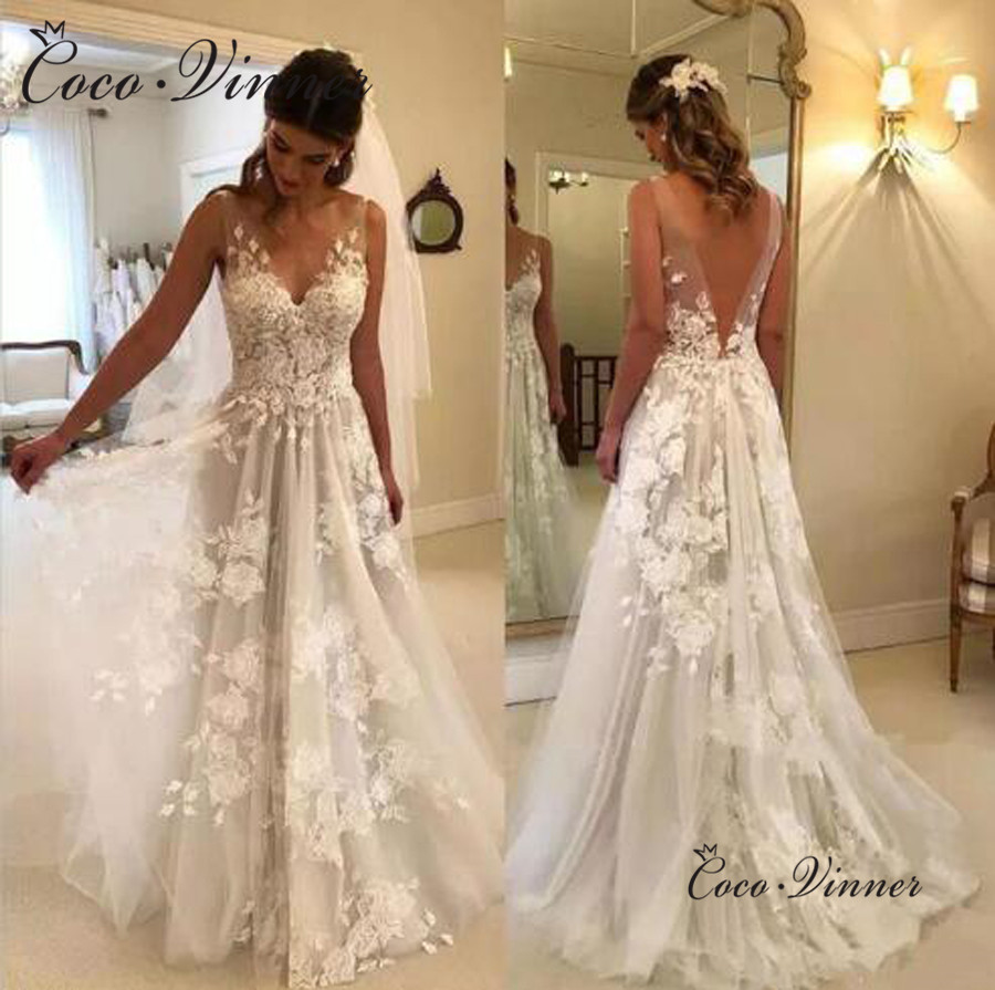 Fancy Appliques Lace Embroidery Illusion V-neck Sweep Train Natural Beach Wedding Dresses Backless 2019 Vestido Novia Boho W0449
