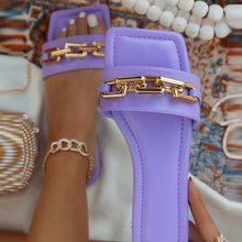 Sandalias de verano para mujer, chanclas con cadena de Color sólido, zapatos planos de playa transpirables para exteriores, talla grande 43