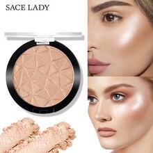 SACE LADY 6 Color resaltador polvo brillo paleta maquillaje brillo Contorno de cara brillo iluminador resaltar cosméticos