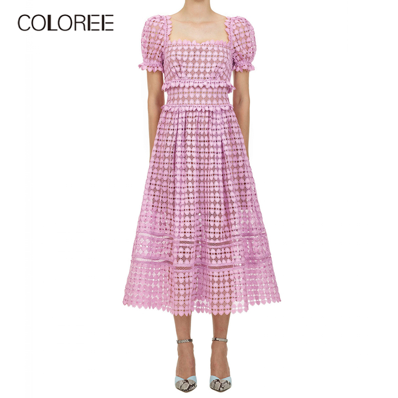 New runway designer summer dress 2020 women sexy short sleeve pink hollow out lace long party dress