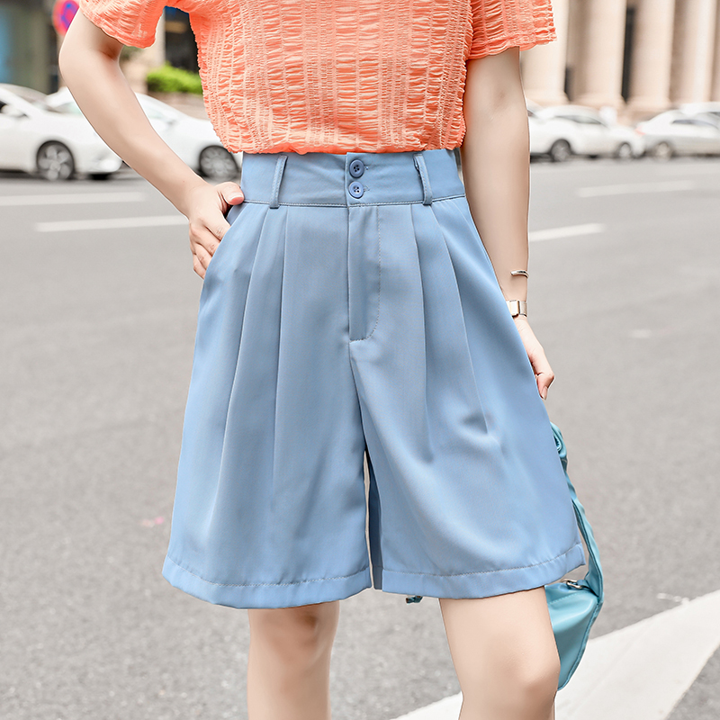 Double Button Women Shorts Plus Size 2020 Wide Leg High Waist Shorts Pleated Female Casual Loose Suit Shorts Large Size Clothes