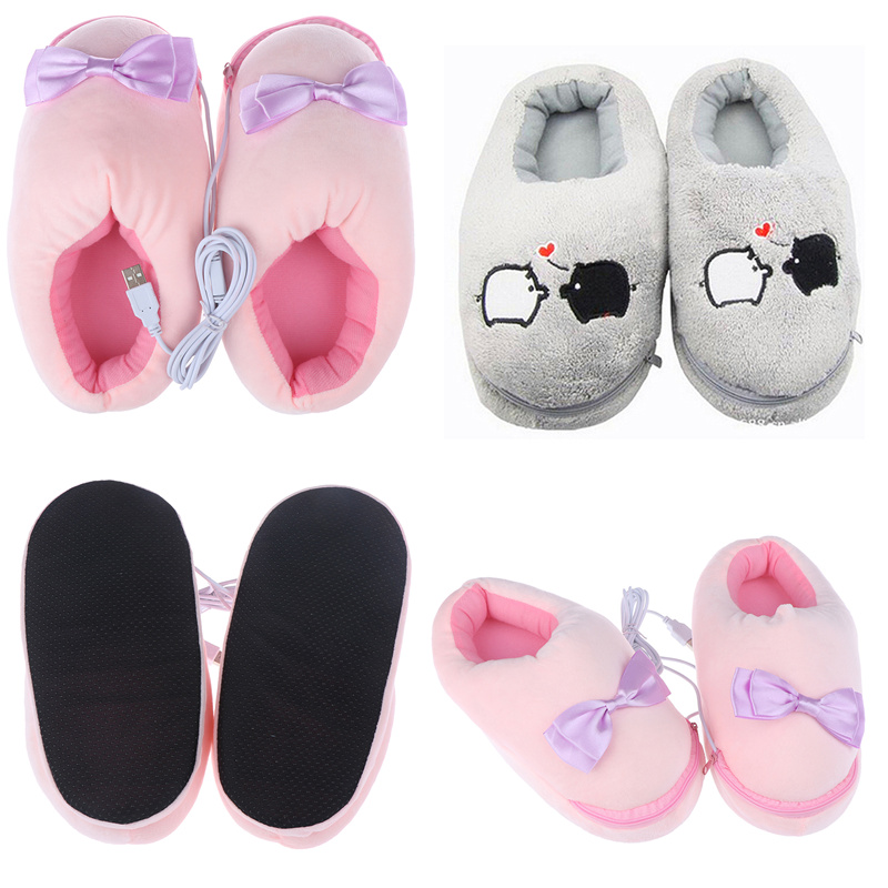 Pink Grey Practical Safe Plush USB Foot Warmer Shoes Soft Electric Heating Slipper Cute Rabbits Christmas Gift For Girls