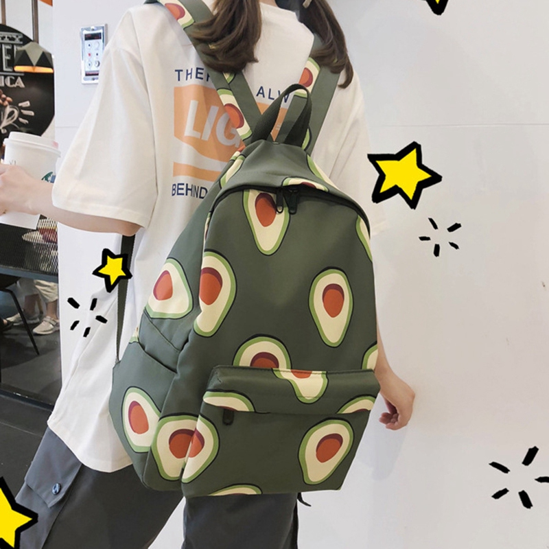 Cute Backpack Fashion Nylon Fruit Print Backpack Women's Large Capacity School Backpack