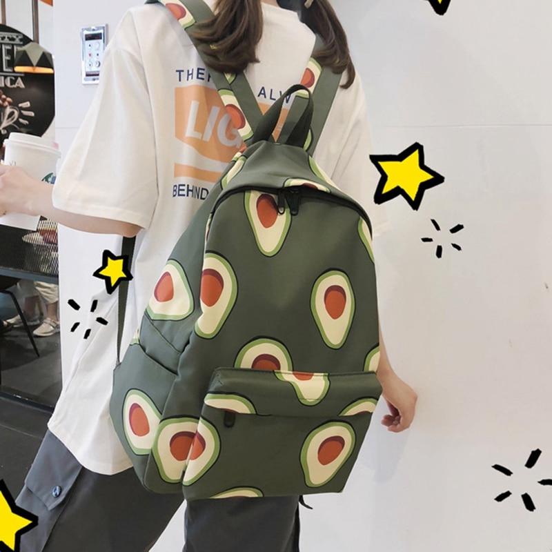 Cute Backpack Fashion Nylon Fruit Print Backpack Women's Large Capacity School Backpack