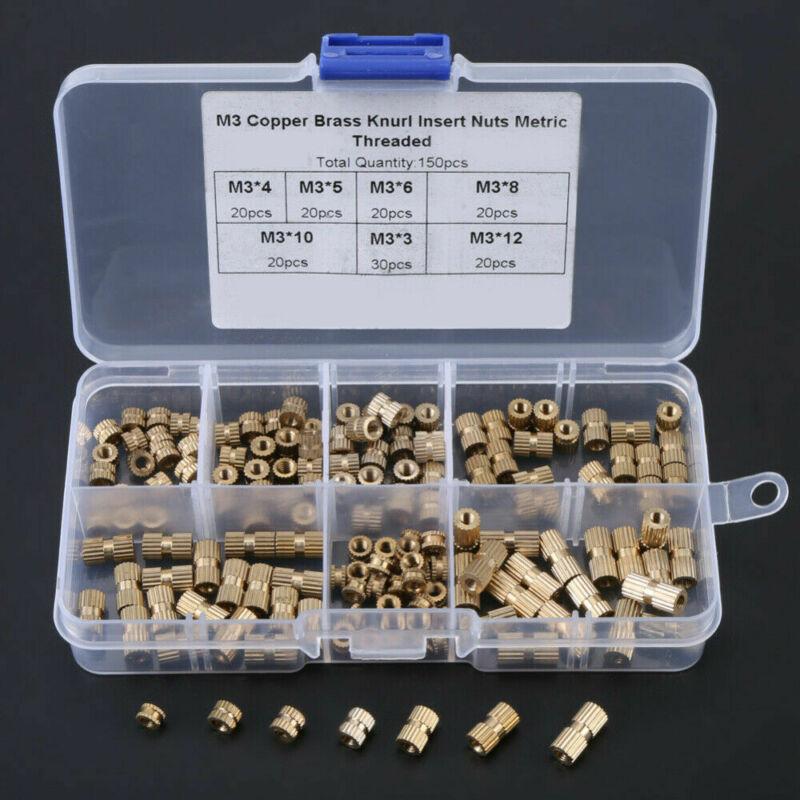 150pcs/Set M3 Brass Threaded Heat Insert Plastic 3D Printing Metal Nut Supplies Brand New M3 Knurled Nuts (150pcs Set)