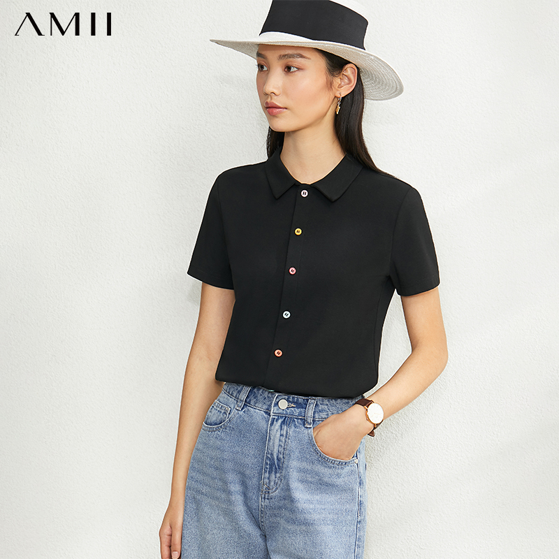 AMII Minimalism Spring Summer Solid Basic Polo Shirt Women Causal Slim Fit Single-breasted Female Shirt Tops 12070142