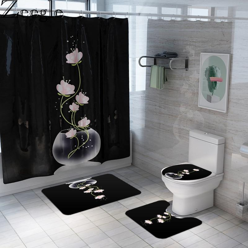 Zeegle Bath Curtain Bathroom Carpet Set Washable Bathroom Shower Curtain Toilet Mat Absorbent Foot Mat Bath Rug Set