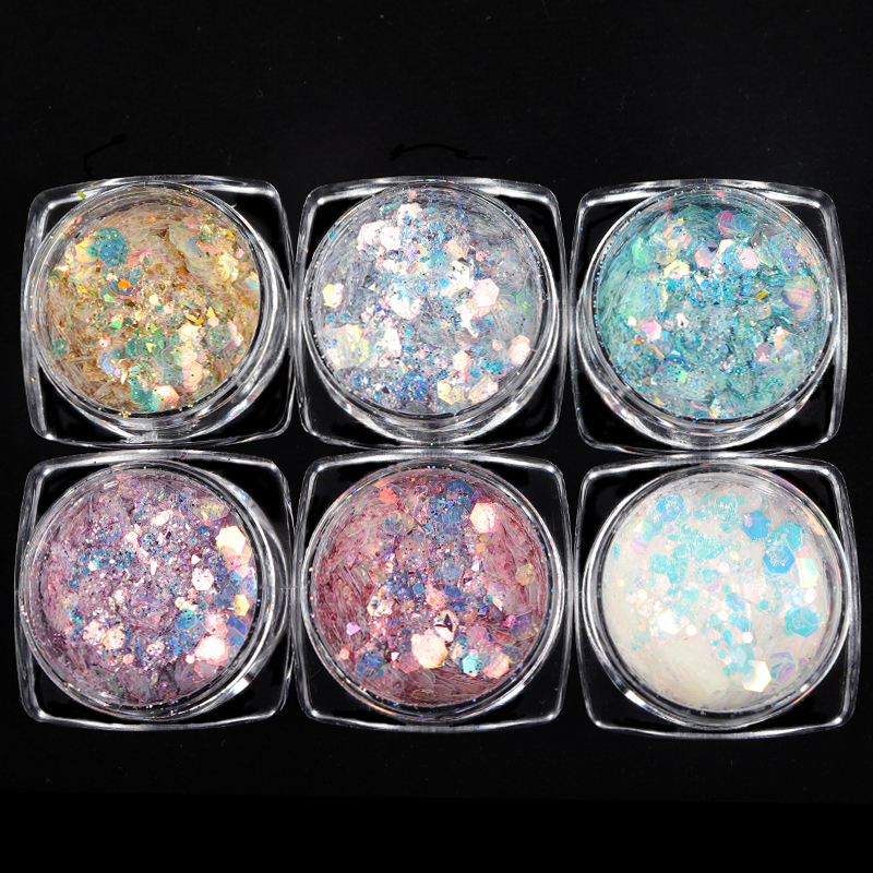 Nail Mermaid Glitter Flakes Sparkly  Hexagon 3D Colorful Sequins Spangles Polish Manicure Nails Art Decorations
