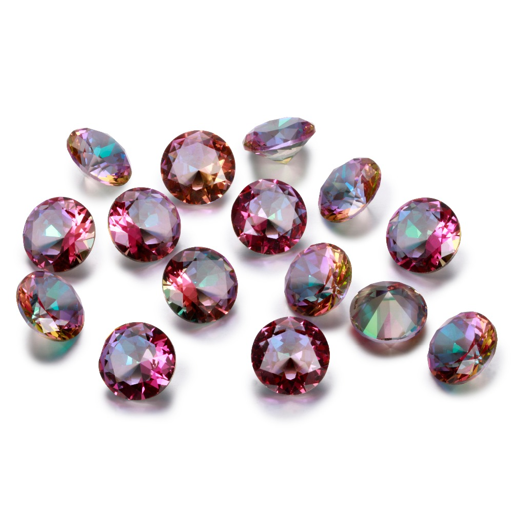 New Charm Round 10x10MM Rainbow Topaz Stones 2-3CT Loose Gemstone Wholesale Decoration Gifts Accessories 10 Pcs/set