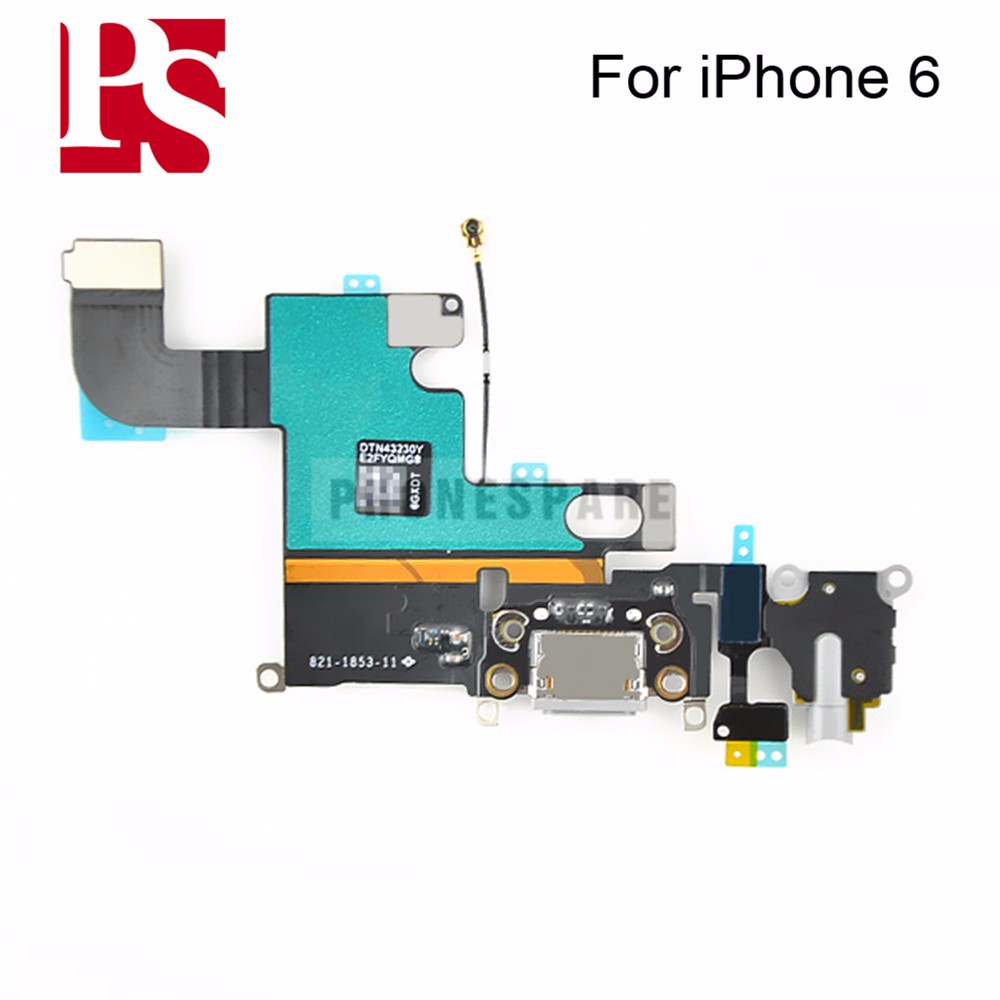 10pcs/lot  Charging Charger Port USB Dock Connector Flex Cable For iPhone 6 inch with Headphone Jack Mic