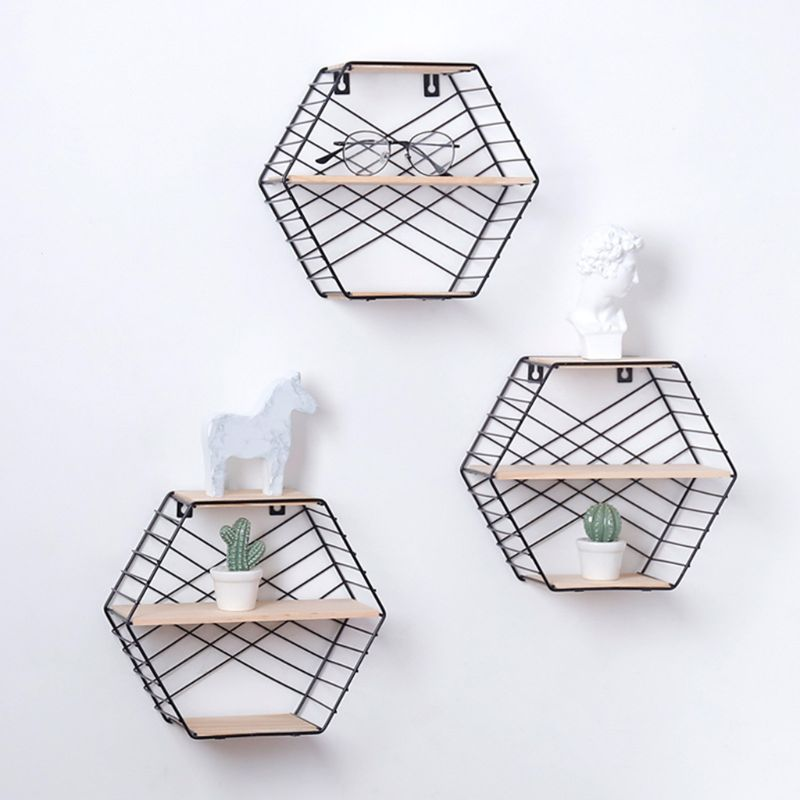 Wall Mounted Floating Shelf Modern Simple Geometry Wood Metal Wire Hexagon Plant Flower Storage Shelves Display Perfect Decor