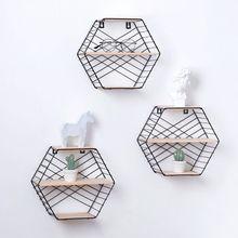 Wall Mounted Floating Shelf Modern Simple Geometry Wood Metal Wire Hexagon Plant Flower