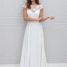 2018 A line Bateau Appliqued vestido de noiva de renda Long Vintage Brides Short Sleeve Beach bridal