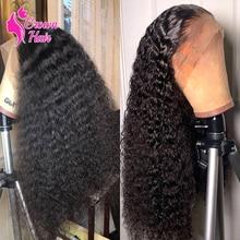 Парик Jerry Curl 13x4, парик на сетке спереди, вьющиеся, с глубокой волной, человеческие волосы, бразильские, натуральные, предварительно выщипанны...