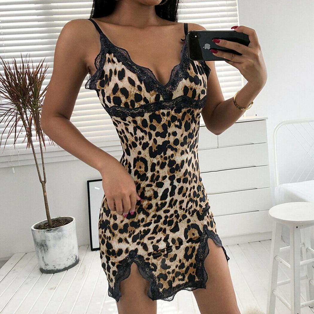 Hfc61fbdecf834437b99c90c333dfc9faA Sexy Hot Women Leopard Printed Lace Night Dress Lingerie V Neck Night Gown Summer Sleepwear Spaghetti Strap Nighty Sleep Wear