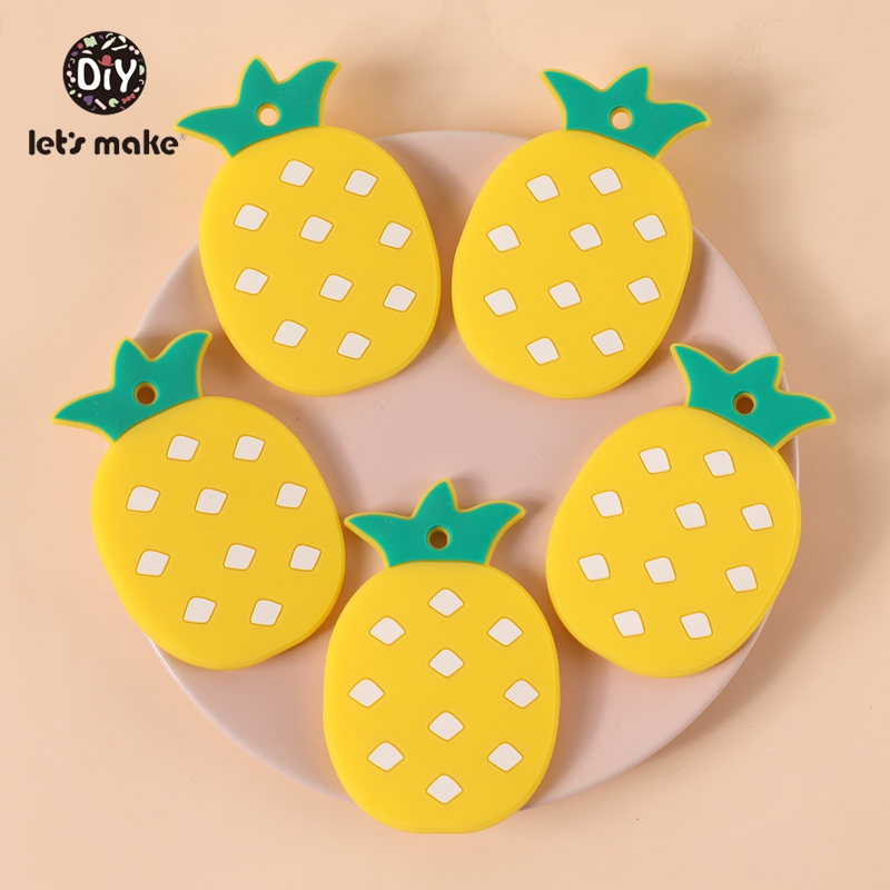 Baby Teether Items Silicone Teething Toys Pineapple BPA Free Pendant DIY Pacifier Chain Teether For Teeth Cartoon Let's Make 1pc