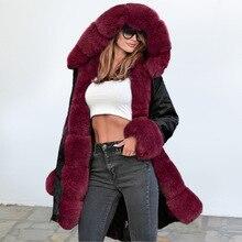 Новая модная уличная стильная теплая Толстая пушистая Зимняя парка из искусственного меха, пальто, верхняя одежда