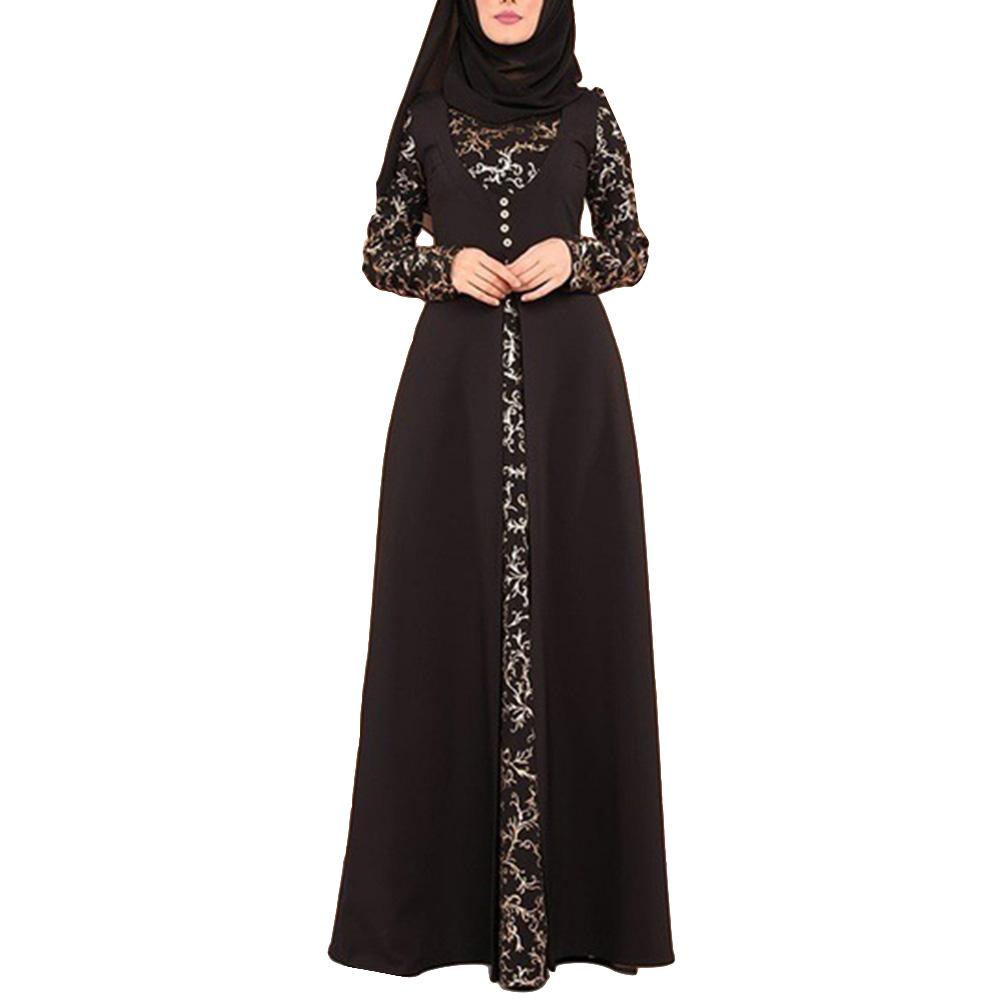Party Elegant Floral Pattern Hot Stamping Muslim Women Long Sleeve Arab Kaftan Maxi Dress (without Hijab)(China)